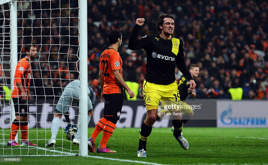Mats Hummels of Dortmund celebrates after scoring his teams second goal during the UEFA Champions League Round of 16 first leg match between Shakhtar Donetsk and Borussia Dortmund at Donbass Arena on February 13, 2013 in Donetsk, Ukraine.