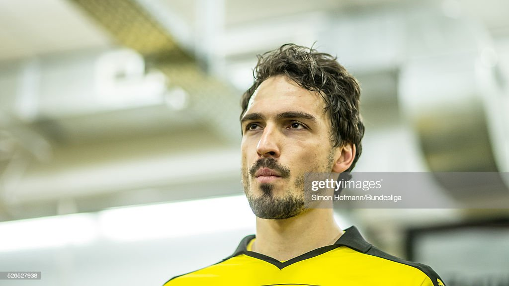 Mats Hummels of Dortmund looks prior to the Bundesliga match between Borussia Dortmund and VfL Wolfsburg at Signal Iduna Park on April 30, 2016 in Dortmund, North Rhine-Westphalia.