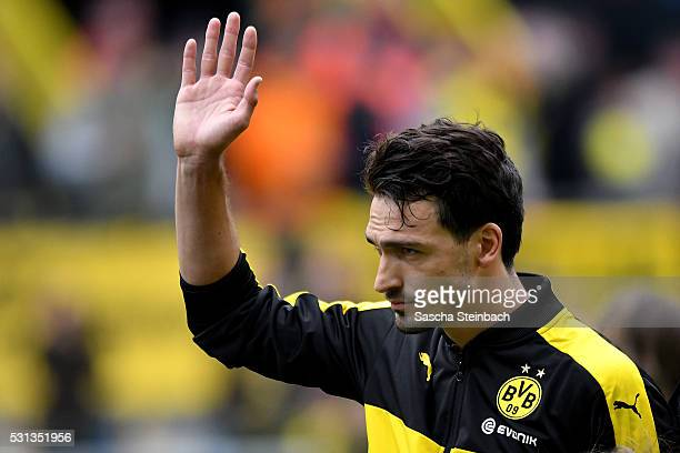 Mats Hummels of Dortmund reacts during the Bundesliga match between Borussia Dortmund and 1 FC Koeln at Signal Iduna Park on May 14 2016 in Dortmund...