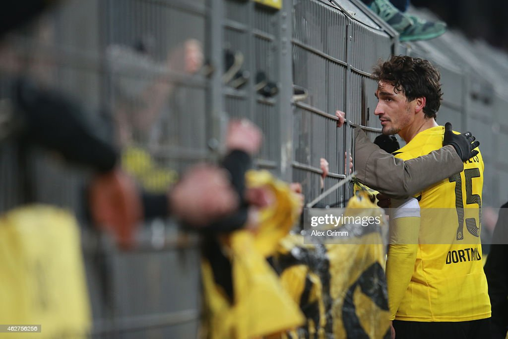 Mats Hummels of Dortmund talks to their supporters after the Bundesliga match between Borussia Dortmund and FC Augsburg at Signal Iduna Park on...