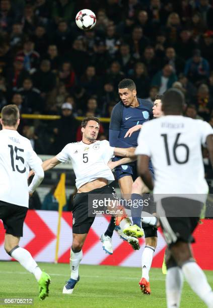 Mats Hummels of Germany and Chris Smalling of England in action during the international friendly match between Germany and England at Signal Iduna...