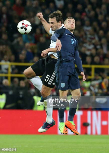 Mats Hummels of Germany and Jamie Vardy of England in action during the international friendly match between Germany and England at Signal Iduna Park...