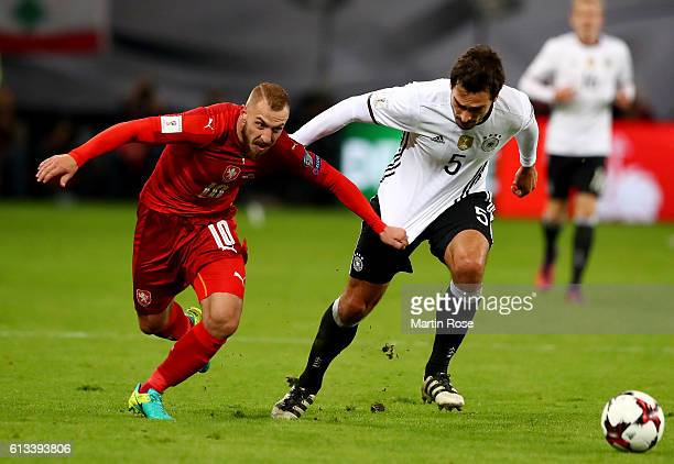 Mats Hummels of Germany and Jiri Skalak of Czech Republic battle for the ball during the FIFA 2018 World Cup Qualifier between Germany and Czech...