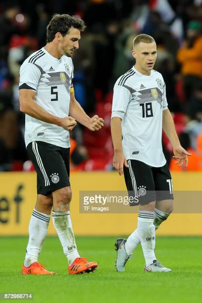 Mats Hummels of Germany and Joshua Kimmich of Germany looks on during the international friendly match between England and Germany at Wembley Stadium...