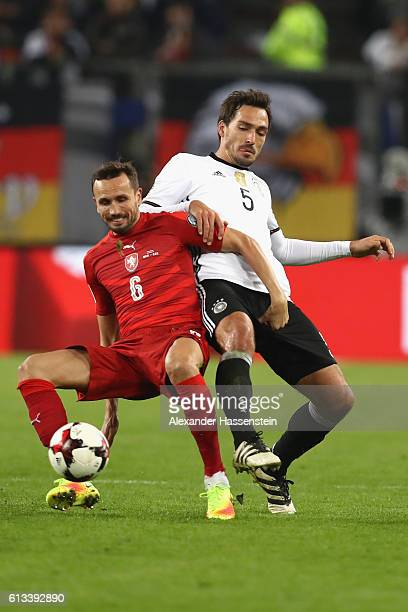 Mats Hummels of Germany battles for the ball with Tomas Sivok of Czech Republic during the 2018 FIFA World Cup Qualifier match between Germany and...