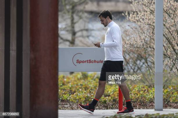 Mats Hummels of Germany is seen next to the team hotel prior the training of German national team ahead of the FIFA World Cup qualification match...