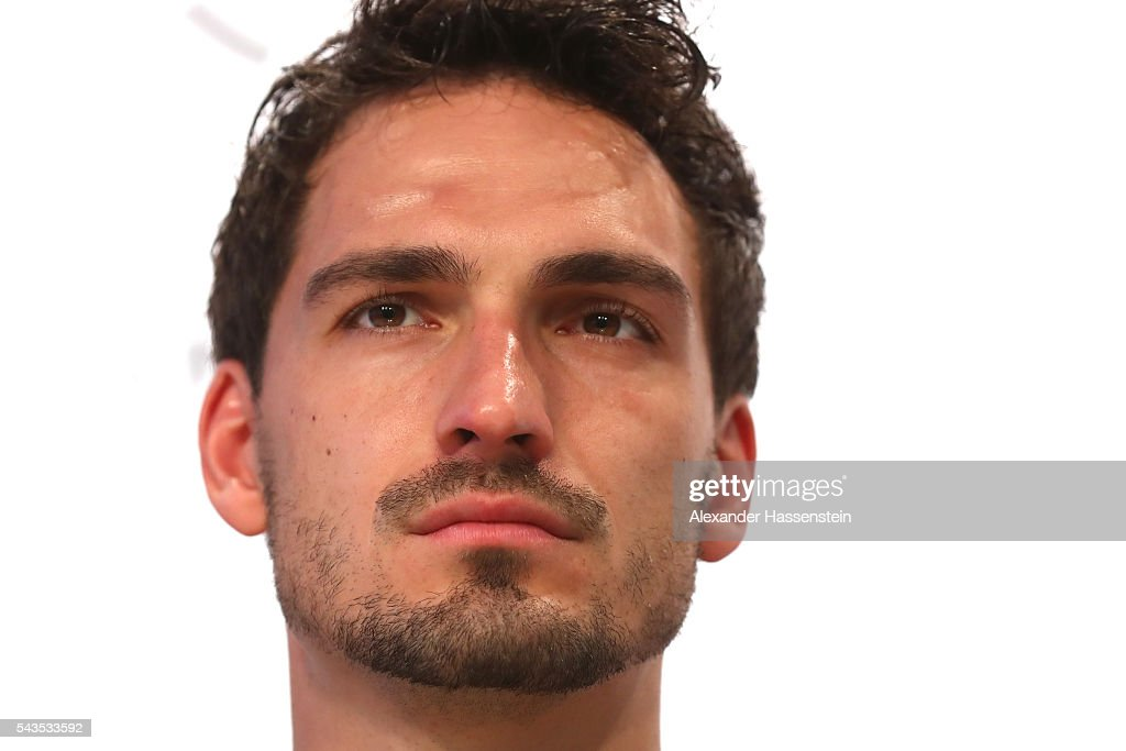 <a gi-track='captionPersonalityLinkClicked' href=/galleries/search?phrase=Mats+Hummels&family=editorial&specificpeople=595395 ng-click='$event.stopPropagation()'>Mats Hummels</a> of Germany looks on during a Germany press conference at Ermitage Evian on June 29, 2016 in Evian-les-Bains, France.