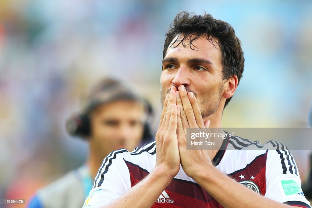 Mats Hummels of Germany reacts after defeating France 1-0 in the 2014 FIFA World Cup Brazil Quarter Final match between France and Germany at Maracana on July 4, 2014 in Rio de Janeiro, Brazil.