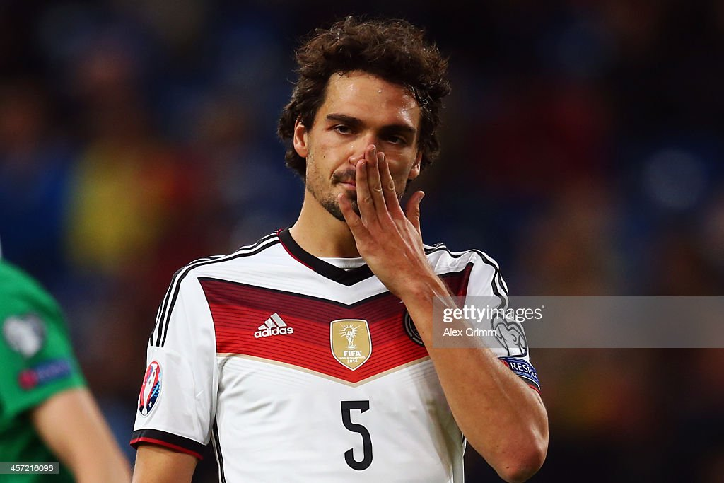 Mats Hummels of Germany reacts during the EURO 2016 Qualifier between Germany and Republic of Ireland at the Veltins-Arena on October 14, 2014 in Gelsenkirchen, Germany.