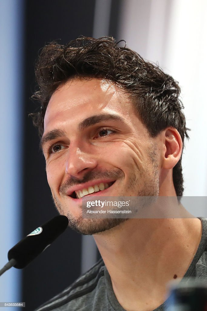 <a gi-track='captionPersonalityLinkClicked' href=/galleries/search?phrase=Mats+Hummels&family=editorial&specificpeople=595395 ng-click='$event.stopPropagation()'>Mats Hummels</a> of Germany talks to the media during a Germany press conference at Ermitage Evian on June 29, 2016 in Evian-les-Bains, France.