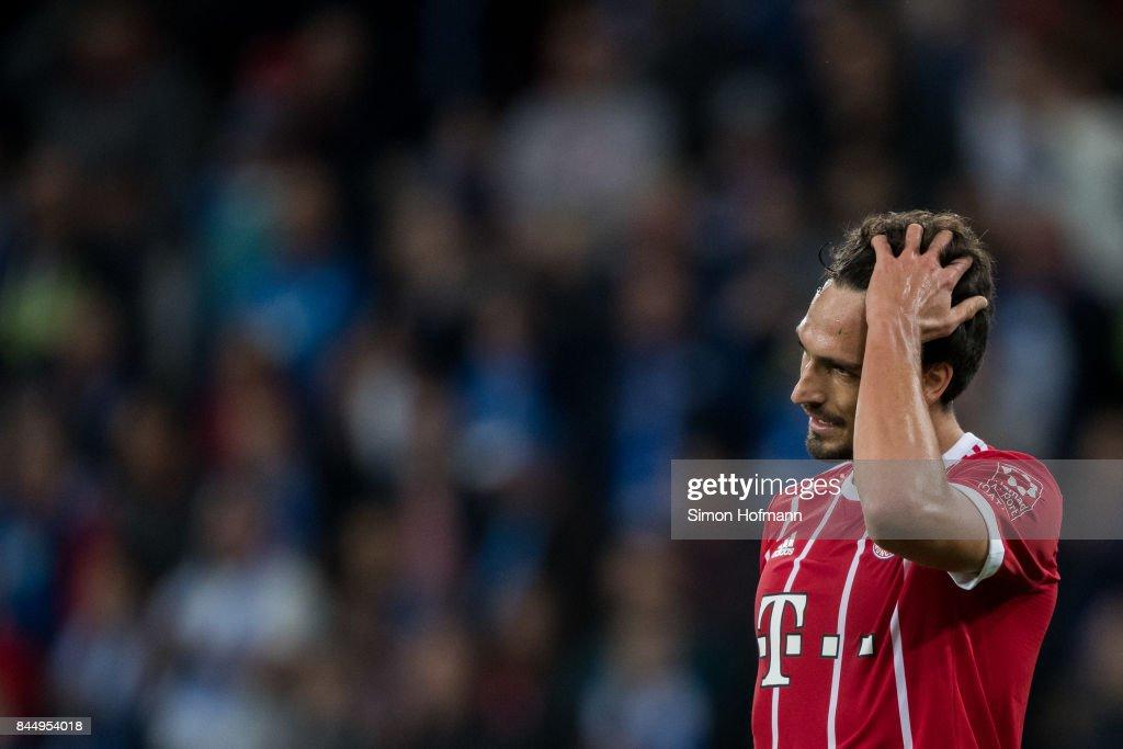 Mats Hummels of Muenchen reacts during the Bundesliga match between TSG 1899 Hoffenheim and FC Bayern Muenchen at Wirsol Rhein-Neckar-Arena on September 9, 2017 in Sinsheim, Germany.