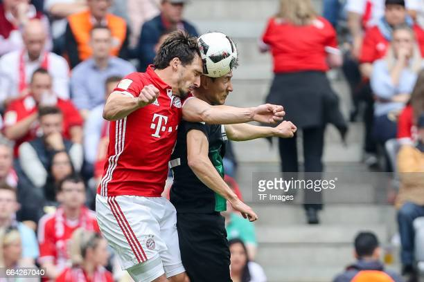 Mats Hummels of Munich and DongWon Ji of Augsburg battle for the ball during the Bundesliga match between Bayern Muenchen and FC Augsburg at Allianz...
