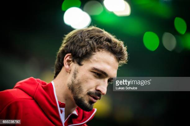 Mats Hummels of Munich is seen prior to the Bundesliga match between Borussia Moenchengladbach and Bayern Muenchen at BorussiaPark on March 19 2017...