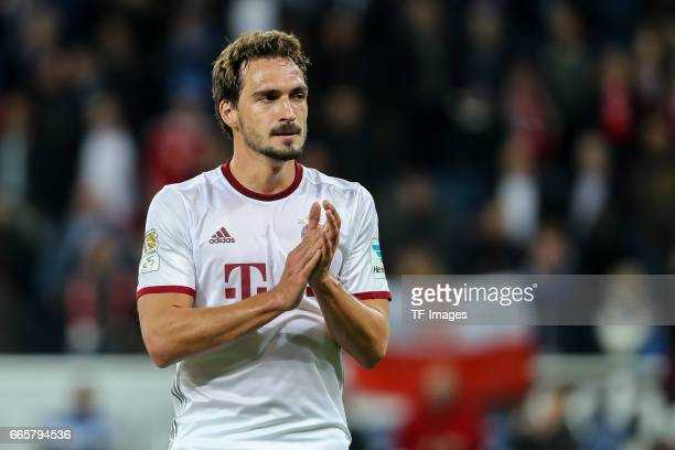 Mats Hummels of Munich looks dejected during the Bundesliga match between TSG 1899 Hoffenheim and Bayern Muenchen at Wirsol RheinNeckarArena on April...