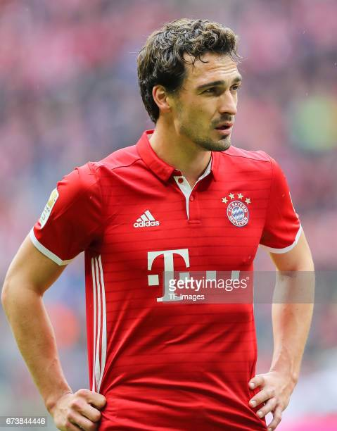 Mats Hummels of Munich looks on during the Bundesliga match between Bayern Muenchen and 1 FSV Mainz 05 at Allianz Arena on April 22 2017 in Munich...