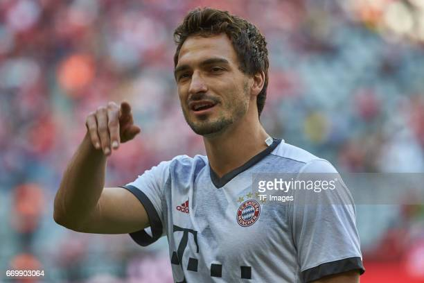 Mats Hummels of Munich looks on prior the Bundesliga match between Bayern Muenchen and Borussia Dortmund at Allianz Arena on April 8 2017 in Munich...