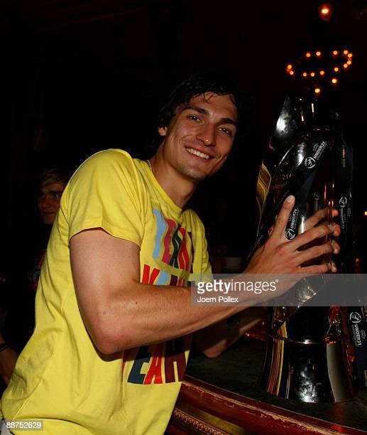 Mats Hummels of the German team is pictured with the cup after winning the U21 European Championship on the DFB U21 European Championship Party in...