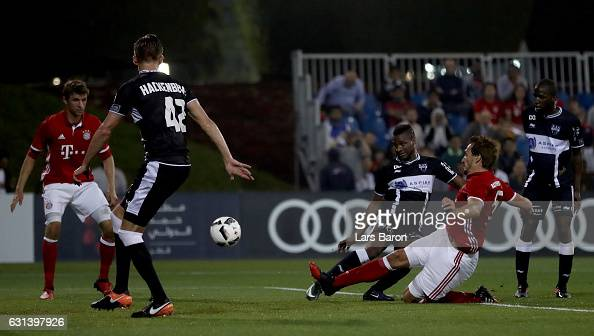 Mats Hummels scores his teams first goal during the friendly match between Bayern Muenchen and KAS Eupen on January 10 2017 in Doha Qatar