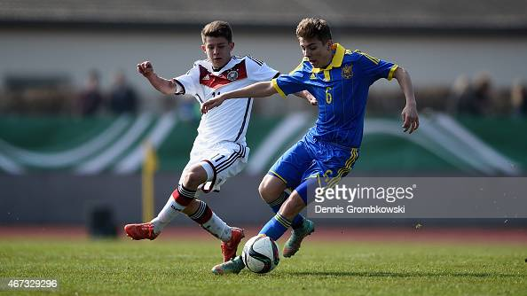 Mats Koehlert of Germany challenges Serhii Kosovskyi of Ukraine during the UEFA Under 17 Elite Round match between Germany and Ukraine at...