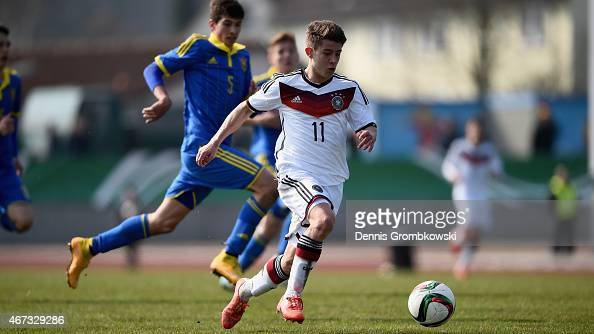 Mats Koehlert of Germany vies for the ball during the UEFA Under 17 Elite Round match between Germany and Ukraine at GeorgGassmannStadion on March 23...