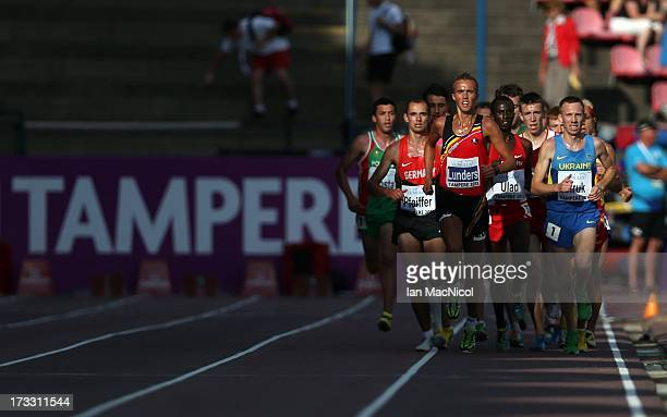 Mats Lunders of Belgium leads the field during the Men's 10000m Final during day one of The European Athletics U23 Championships 2013 on July 11 2013...