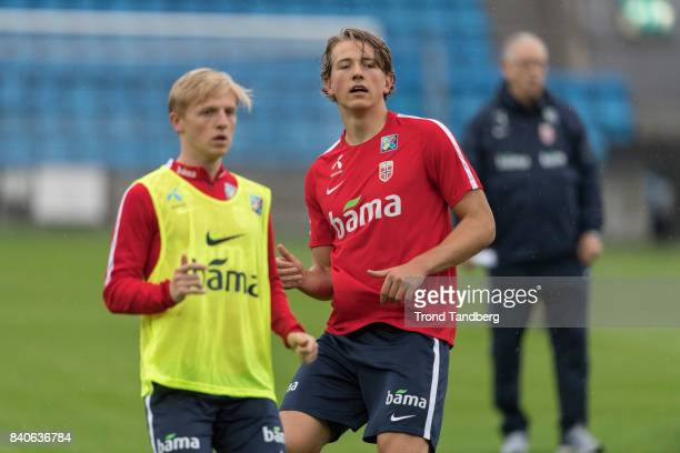 Mats Moeller Daehli Sander Berge of Norway during the FIFA 2018 World Cup Qualifier training between Norway and Aserbajdsjan at Ullevaal Stadion on...