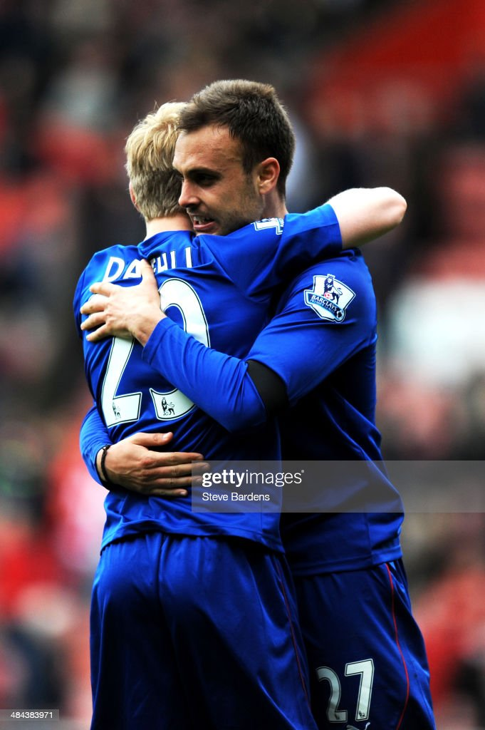 Mats Moller Daehli and Juan Cala of Cardiff celebrate their team's 1-0 victory during the Barclays Premier League match between Southampton and Cardiff City at St Mary's Stadium on April 12, 2014 in Southampton, England.