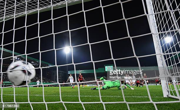 Mats Moller Daehli of Freiburg scores his team's first goal during the DFB Cup match between SC Freiburg and SV Sandhausen at SchwarzwaldStadion on...