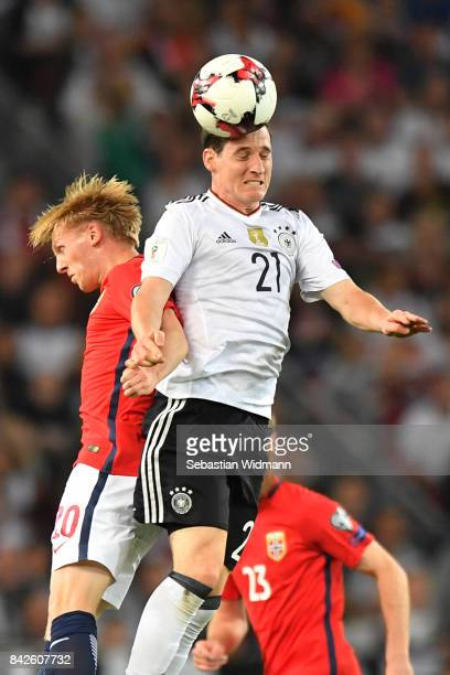 Mats Moller Daehli of Norway fights for the ball with Sebastian Rudy of Germany during the FIFA 2018 World Cup Qualifier between Germany and Norway...