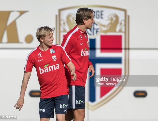 Mats Moller Daehli Sander Berge of Norway during the FIFA 2018 World Cup Qualifier training between Norway and Azerbaijan at Bislett Stadion on...