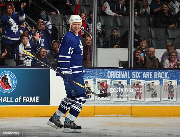 Mats Sundin celebrtaes his goal past Martin Biron during the Hockey Hall of Fame Legends Classic Game at the Air Canada Centre on November 16 2014 in...