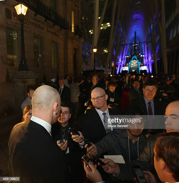 Mats Sundin is interviewed on the red carpet prior to the induction ceremony at the Hockey Hall of Fame on November 17 2014 in Toronto Canada