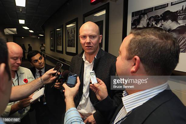 Mats Sundin is interviewed prior to the Hockey Hall of Fame Legends Game at the Air Canada Centre on November 11 2012 in Toronto Canada Sundin will...