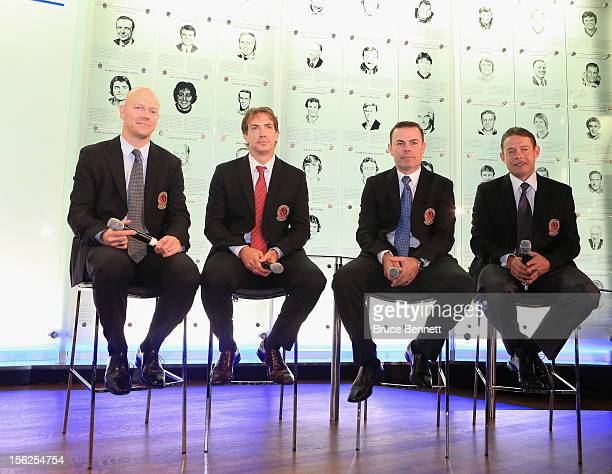 Mats Sundin Joe Sakic Adam Oates and Pavel Bure attend a press conference at the Hockey Hall of Fame on November 12 2012 in Toronto Canada All four...
