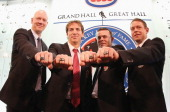 Mats Sundin Joe Sakic Adam Oates and Pavel Bure pose for a photo opportunity at the Hockey Hall of Fame on November 12 2012 in Toronto Canada All...