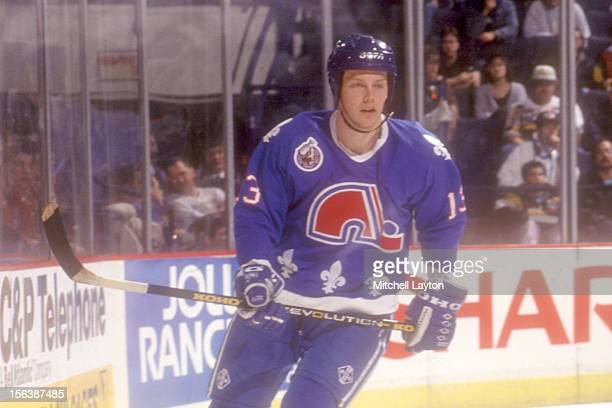 Mats Sundin of the Quebec Nordiques looks on during a hockey game against the Washington Capitals on January 29 1993 at USAir Arena in Landover...
