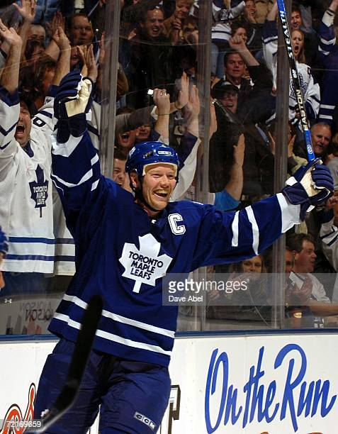 Mats Sundin of the Toronto Maple Leafs celebrates his second goal of the game against the Calgary Flames during the NHL game at Air Canada Centre...