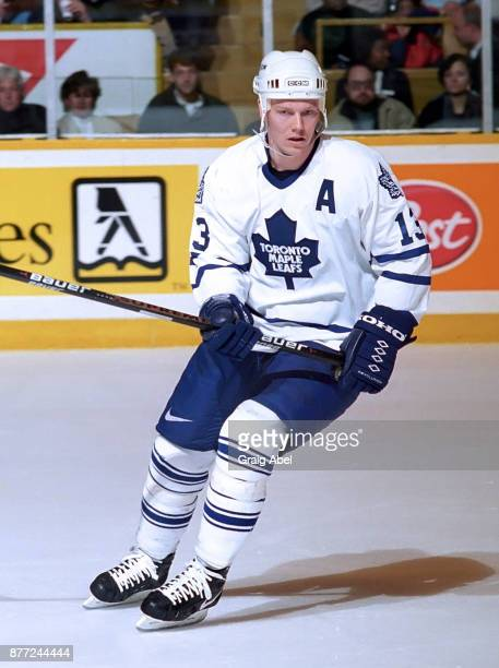 Mats Sundin of the Toronto Maple Leafs Game skates against the St Louis Blues during NHL game action on April 6 1996 at Maple Leaf Gardens in Toronto...