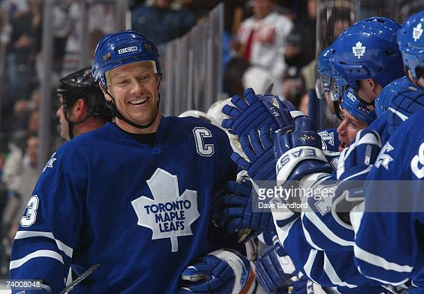 Mats Sundin of the Toronto Maple Leafs skates to the bench during the game against the Edmonton Oilers at Air Canada Centre on February 17 2007 in...