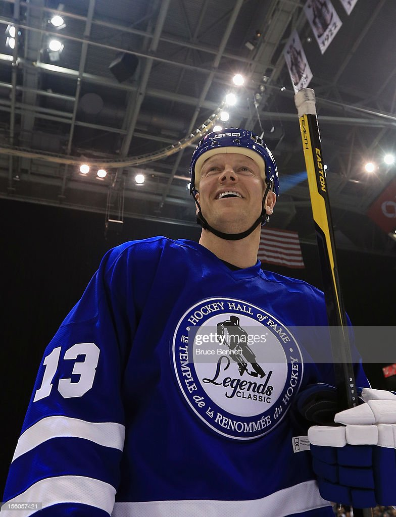 <a gi-track='captionPersonalityLinkClicked' href=/galleries/search?phrase=Mats+Sundin&family=editorial&specificpeople=201858 ng-click='$event.stopPropagation()'>Mats Sundin</a> skates off the ice following the Hockey Hall of Fame Legends Game at the Air Canada Centre on November 11, 2012 in Toronto, Canada. Sundin will be inducted into the Hockey Hall of Fame at a ceremony at the Hall on November 12.