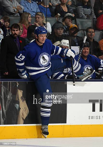 Mats Sundin steps on the ice to take a shift in the Hockey Hall of Fame Legends Game at the Air Canada Centre on November 11 2012 in Toronto Canada...