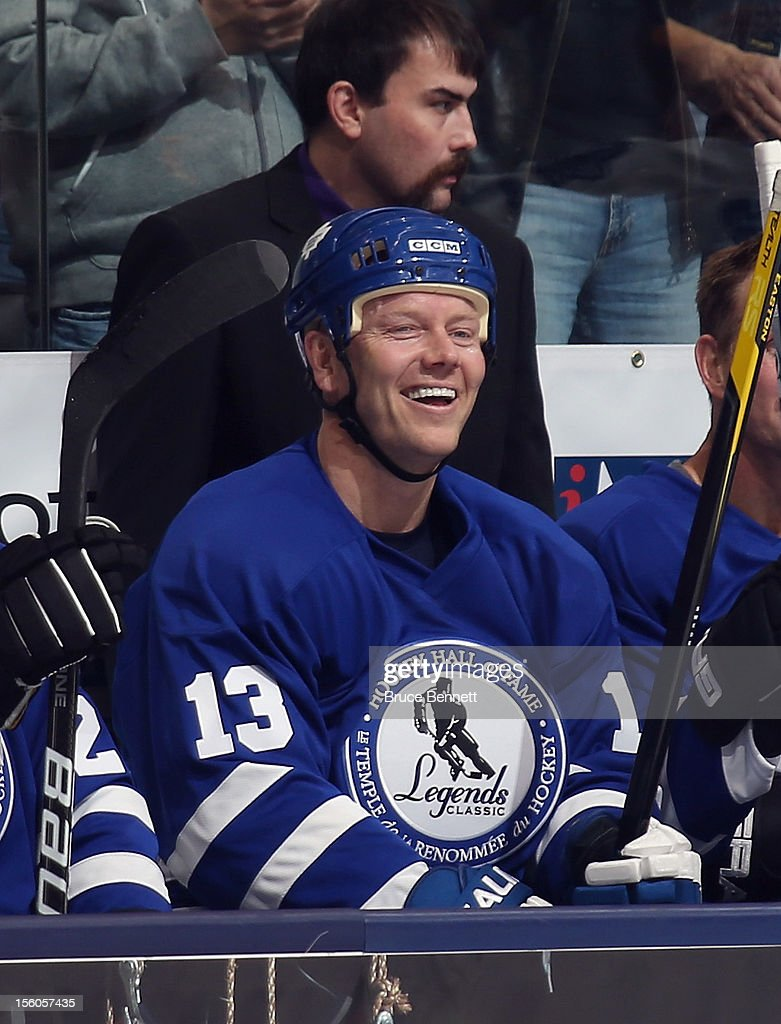 <a gi-track='captionPersonalityLinkClicked' href=/galleries/search?phrase=Mats+Sundin&family=editorial&specificpeople=201858 ng-click='$event.stopPropagation()'>Mats Sundin</a>waits for his shift during the Hockey Hall of Fame Legends Game at the Air Canada Centre on November 11, 2012 in Toronto, Canada. Sundin will be inducted into the Hockey Hall of Fame at a ceremony at the Hall on November 12.