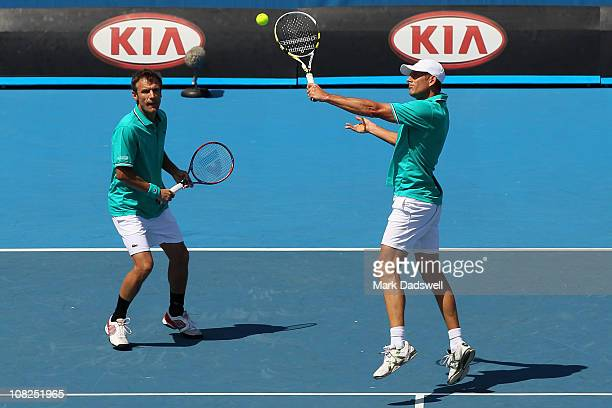 Mats Wilander of Sweden and Guy Forget of France compete in their legends match against Jacco Eltingh and Paul Haarhuis of the Netherlands during day...