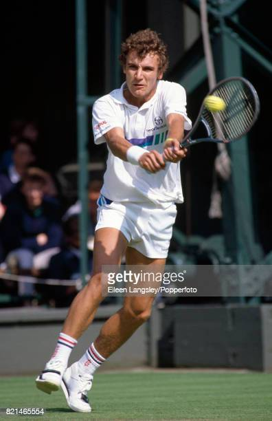 Mats Wilander of Sweden in a men's singles match during the Wimbledon Tennis Championships in London circa June 1987 Wilander lost in the...