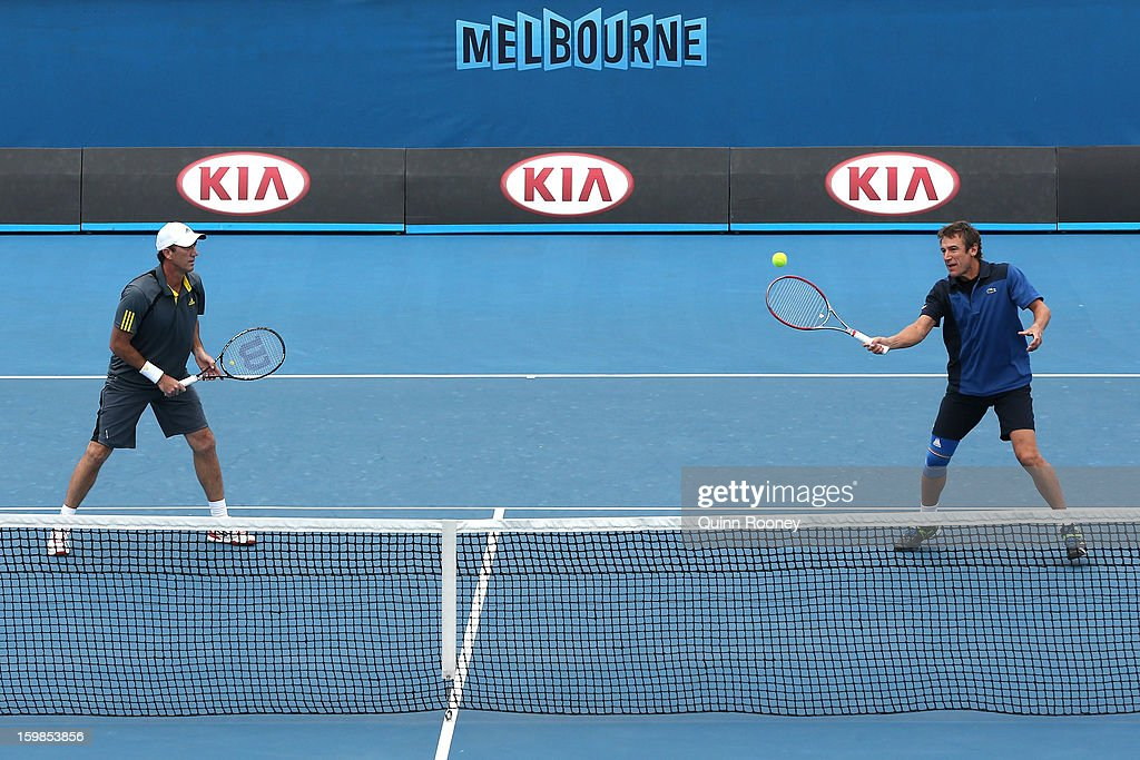 Mats Wilander of Sweden plays a shot in his second round legends doubles match with Darren Cahill of Australia against Jacco Eltingh of the Netherlands and Paul Haarhuis of the Netherlands during day nine of the 2013 Australian Open at Melbourne Park on January 22, 2013 in Melbourne, Australia.