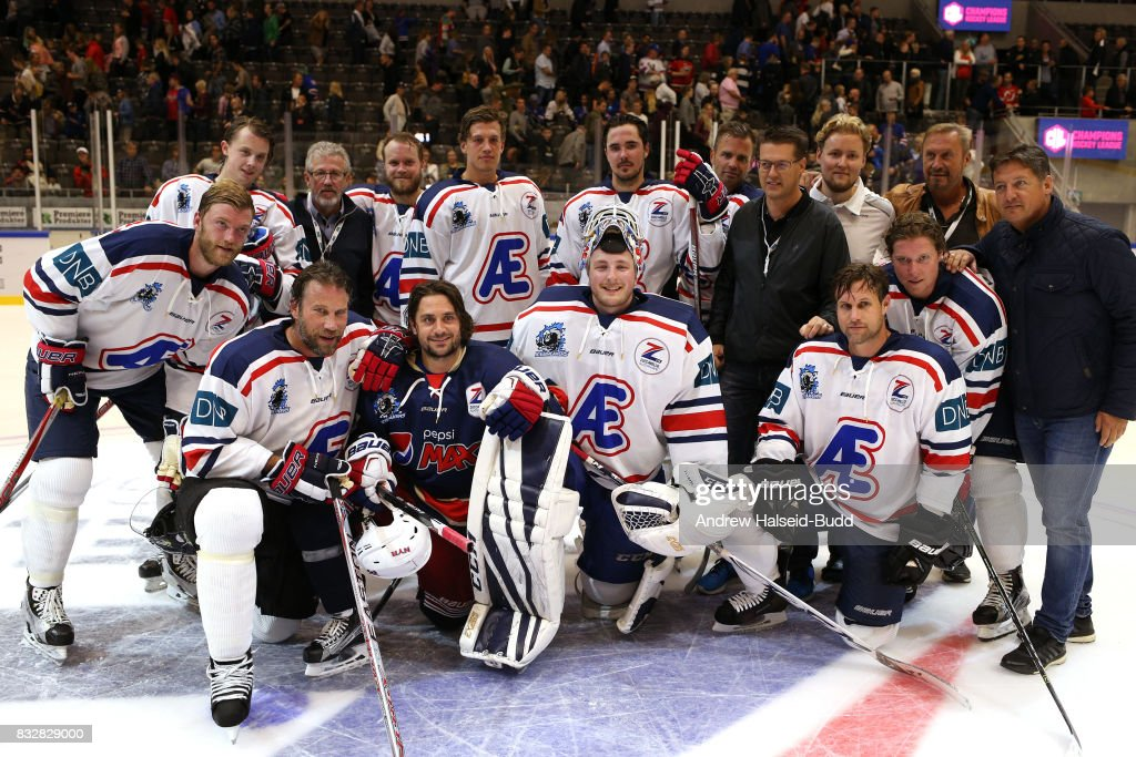 Mats Zuccarello and Team Icebreakers after the Team Zuccarello v Team Icebreakers All Star Game at the DNB Arena on August 16, 2017 in Stavanger, Norway.