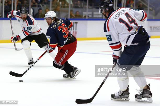 Mats Zuccarello in action against Mattias Ekholm and Peter Forsberg during the Team Zuccarello v Team Icebreakers All Star Game at the DNB Arena on...