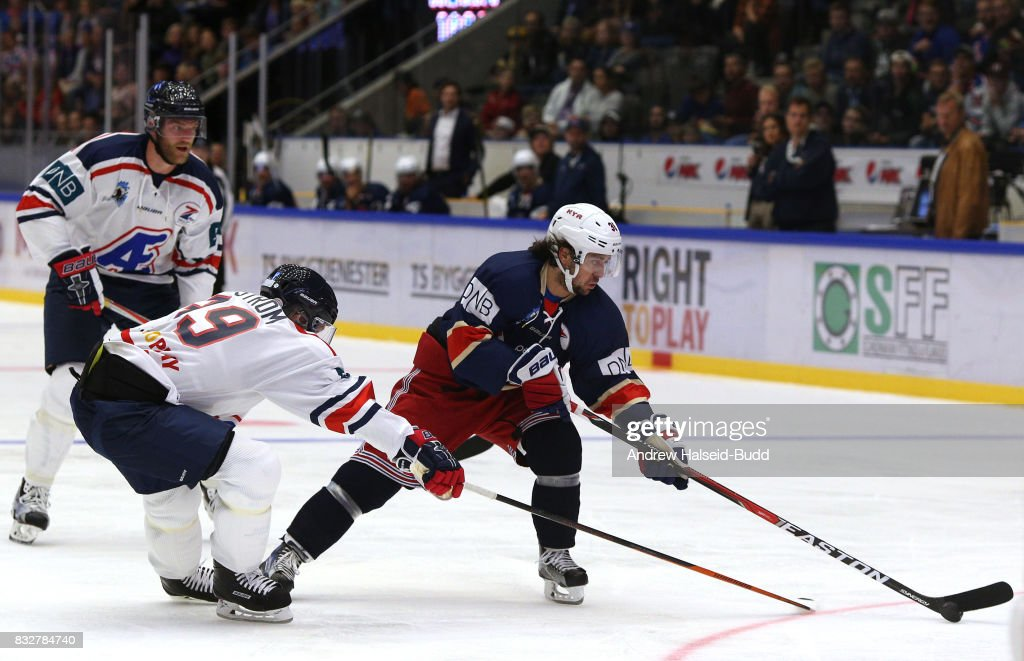 Mats Zuccarello in action against Nicklas Backstrom during the Team Zuccarello v Team Icebreakers All Star Game at the DNB Arena on August 16, 2017 in Stavanger, Norway.