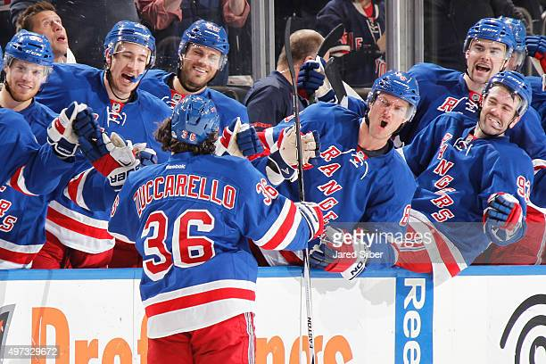Mats Zuccarello of the New York Rangers celebrates after his late third period goal against the Toronto Maple Leafs at Madison Square Garden on...