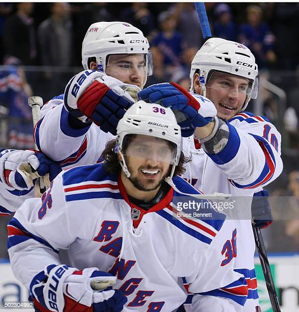 Mats Zuccarello of the New York Rangers celebrates his game winning goal at 237 of overtime against the Anaheim Ducks at Madison Square Garden on...